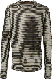 Striped Longsleeved T Shirt Men Linenflax S, Black