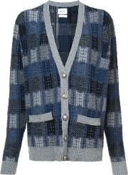 Barrie Checked Oversized Cardigan Women Cashmere S, Blue