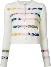 Chevron Cardigan Women Cashmere S, White