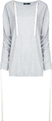 Ruched Sleeves T Shirt Women Cotton 10, Grey