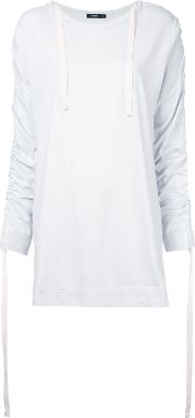 Ruched Sleeves T Shirt Women Cotton 8, Women's, White