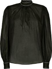 Voile Gathered Sleeve Blouse