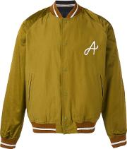 Embroidered 'a' Bomber Jacket Men Cottonviscose M, Green