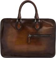 Zip Detail Briefcase Men Leather One Size, Brown