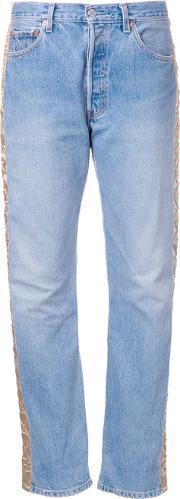 Quilted Panel Jeans Women Cottonpolyesterviscose S, Women's, Blue