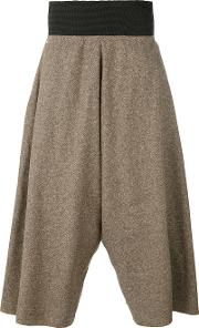 Tweed Wide Leg Cropped Trousers Unisex Silkcottonlinenflax S, Brown
