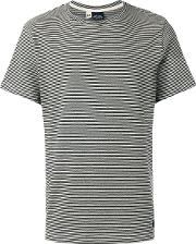 Striped T Shirt Men Cotton S, Black