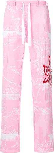 Blood Brother Embroidered Track Pants Men Cotton S, Pinkpurple