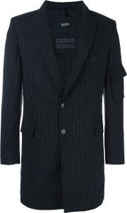 Zip Detail Striped Blazer Men Wool M