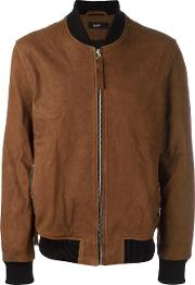 Zipped Bomber Jacket Men Cottoncalf Leatherpolyester M, Brown