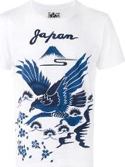 Bird Print T Shirt Men Cotton M, White