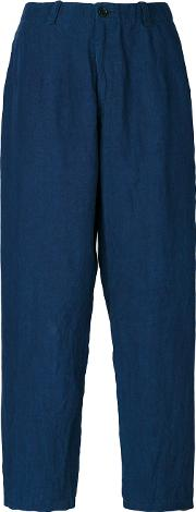 Denim Cropped Trousers Women Linenflax M
