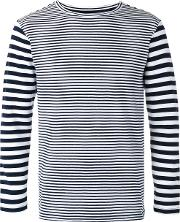 Long Sleeve Stripe T Shirt Men Cottonnylonspandexelastane Xs