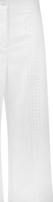 Embroidered Cropped Trousers Women Cotton 40, White