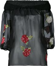 Embroidered Floral Blouse Women Polyesterviscose 40, Black