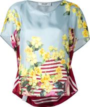 Floral Print Blouse Women Silk 46