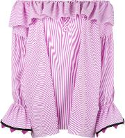 Off The Shoulder Blouse Women Cottonpolyamidespandexelastane 40, Pinkpurple