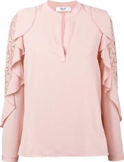 Ruffle Lace Trim Blouse