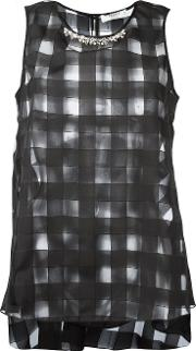 Sheer Square Cut Blouse Women Polyester 40, Women's, Black