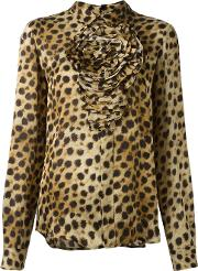 Animal Print Longsleeved Blouse Women Silk 44, Women's, Nudeneutrals