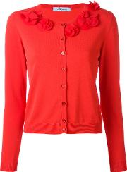 Collar Applique Cardigan Women Silkpolyamidespandexelastaneviscose 44, Red