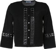 Embroidered Detail Cardigan Women Polyestervirgin Wool 42, Black