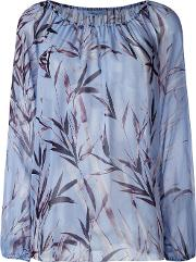Floral Print Blouse Women Silk 44, Blue