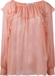 Ruffled Sheer Blouse Women Silk 42, Nudeneutrals