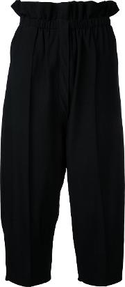 Cropped Trousers Women Cottonviscose S, Black