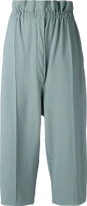 Cropped Trousers Women Polyesterviscose M, Green