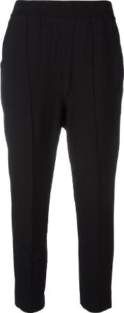 Cropped Trousers Women Polyesterviscose S, Black