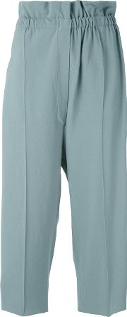 Cropped Trousers Women Polyesterviscose S, Blue