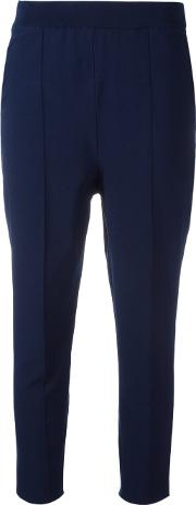 Cropped Trousers Women Viscosepolyester Xs, Blue