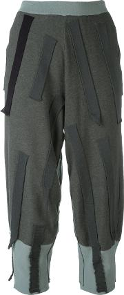 Patch Cropped Trousers Women Cottonpolyesterviscose S, Grey