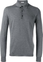 Heathered Polo Shirt Men Virgin Wool L, Grey
