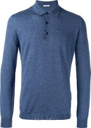 Heathered Polo Shirt Men Virgin Wool S, Blue