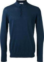 Longsleeved Polo Shirt Men Cotton M, Blue