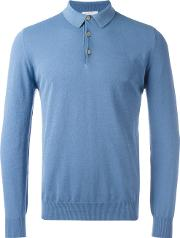 Longsleeved Polo Shirt Men Cotton S, Blue