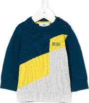 Boss Hugo Boss Logo Jacquard Knit Jumper Kids Cottonwool 9 Mth, Blue