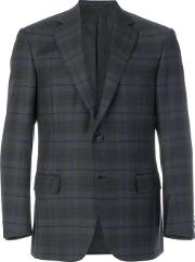 Brioni Checked Blazer Men Cottoncuprowool 52, Grey