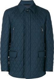Brioni Flap Pockets Quilted Jacket Men Silkcottoncalf Leatherwool Xl, Blue