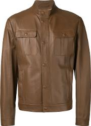 Brioni Front Pocket Jacket Men Silkleather 54, Brown