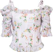 Floral Print Dropped Shoulders Corset Blouse