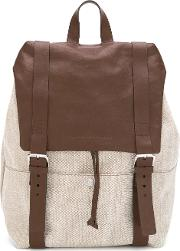 Buckled Straps Backpack Men Cottonleather One Size, Nudeneutrals
