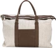 Fold Over Top Tote Men Leathercanvas One Size, Brown