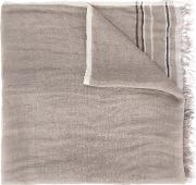 Frayed Scarf Men Linenflax One Size, Grey
