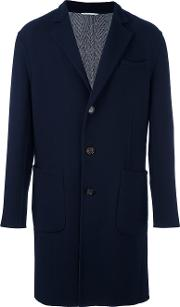Single Breasted Notched Lapel Coat Men Cuprocashmerewool 54, Blue