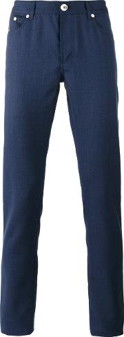Straight Trousers Men Cottonviscosewool 48, Blue