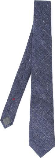 Stylised Check Tie Men Linenflax One Size, Blue
