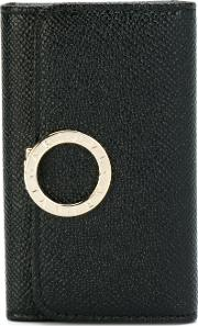 Bulgari Key Purse With Logo Closure Clip Women Leather One Size, Black